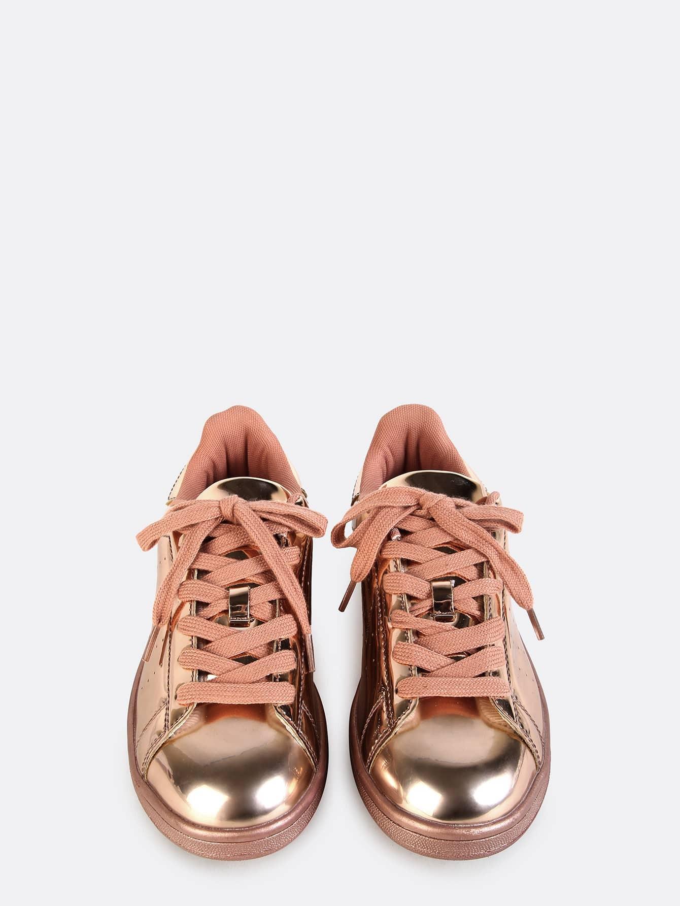 metallic lace up sneakers rose gold shein sheinside. Black Bedroom Furniture Sets. Home Design Ideas