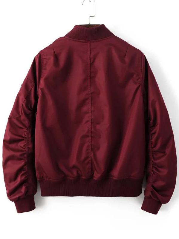 77159a7d11 Gathered Zip Sleeve Flight Jacket | SHEIN