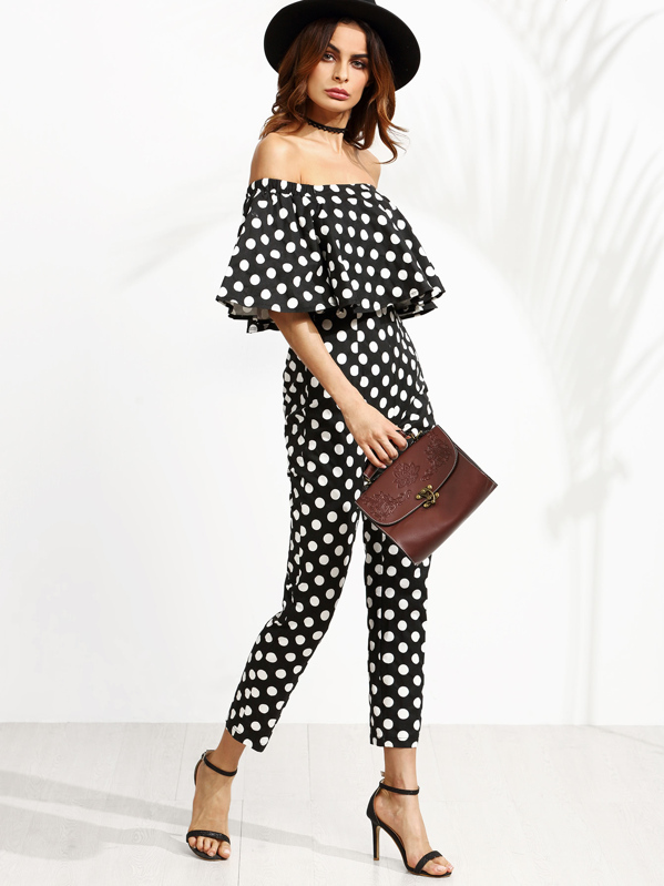 b7ebc1fbdd71 Black and White Polka Dot Print Off The Shoulder Jumpsuit