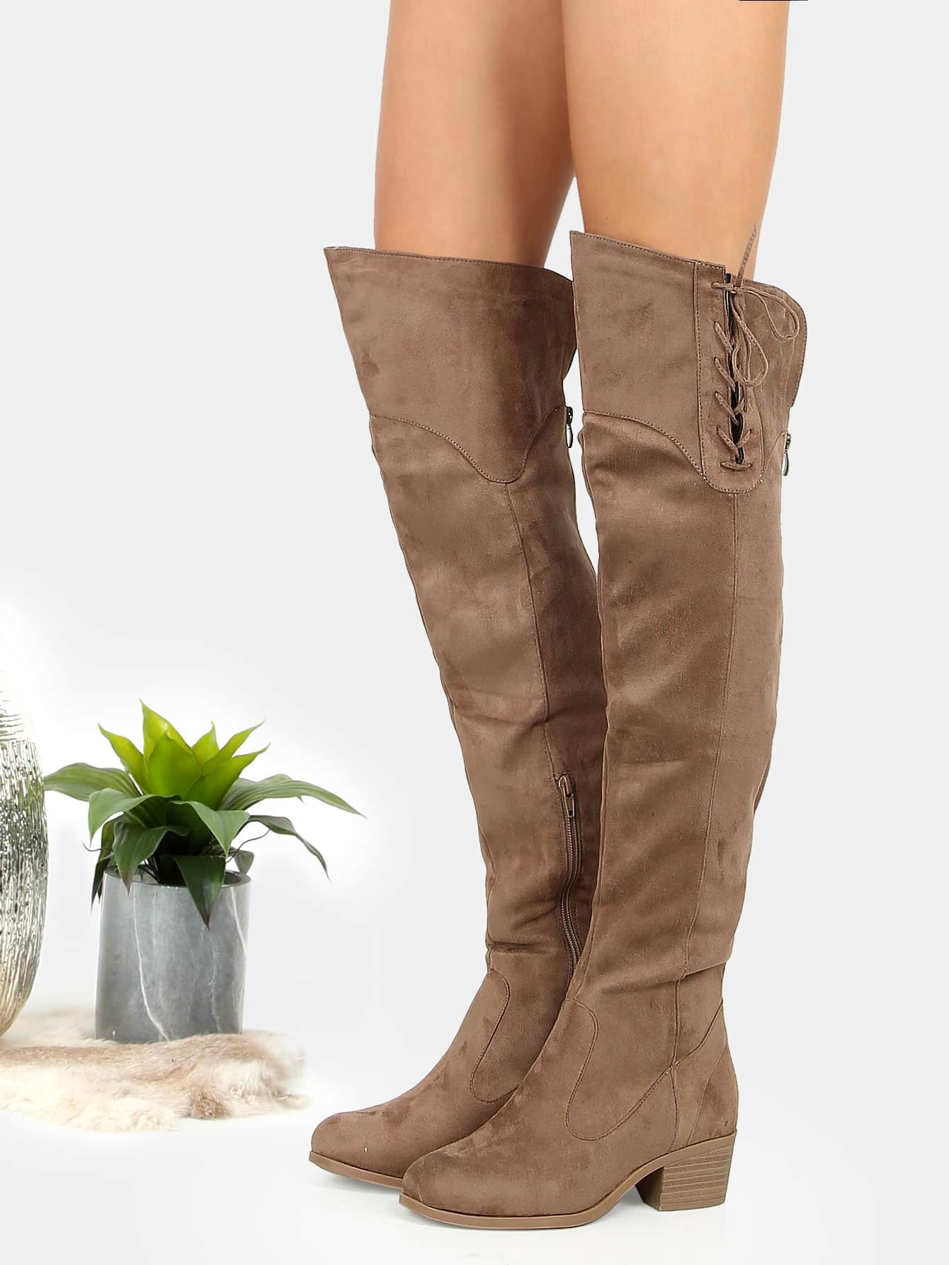 Faux Suede Over Knee Lace Boots TAUPE -SheIn(Sheinside)
