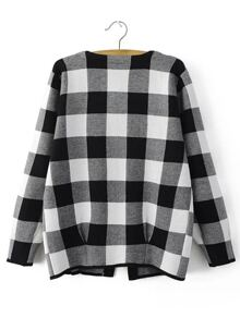 Black And White Checkered Open Front Cardigan Sheinsheinside