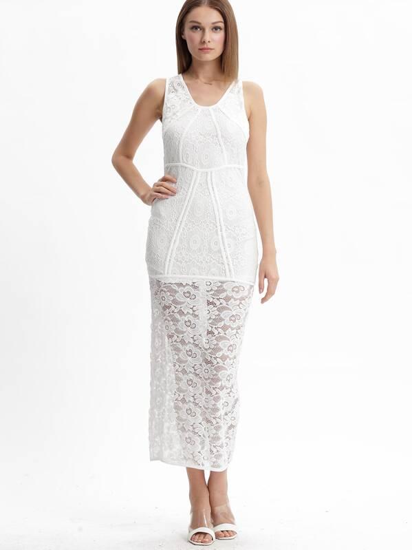 3db9915b7b06 Beige V Neck Cut Out Backless Dress -SheIn(Sheinside)