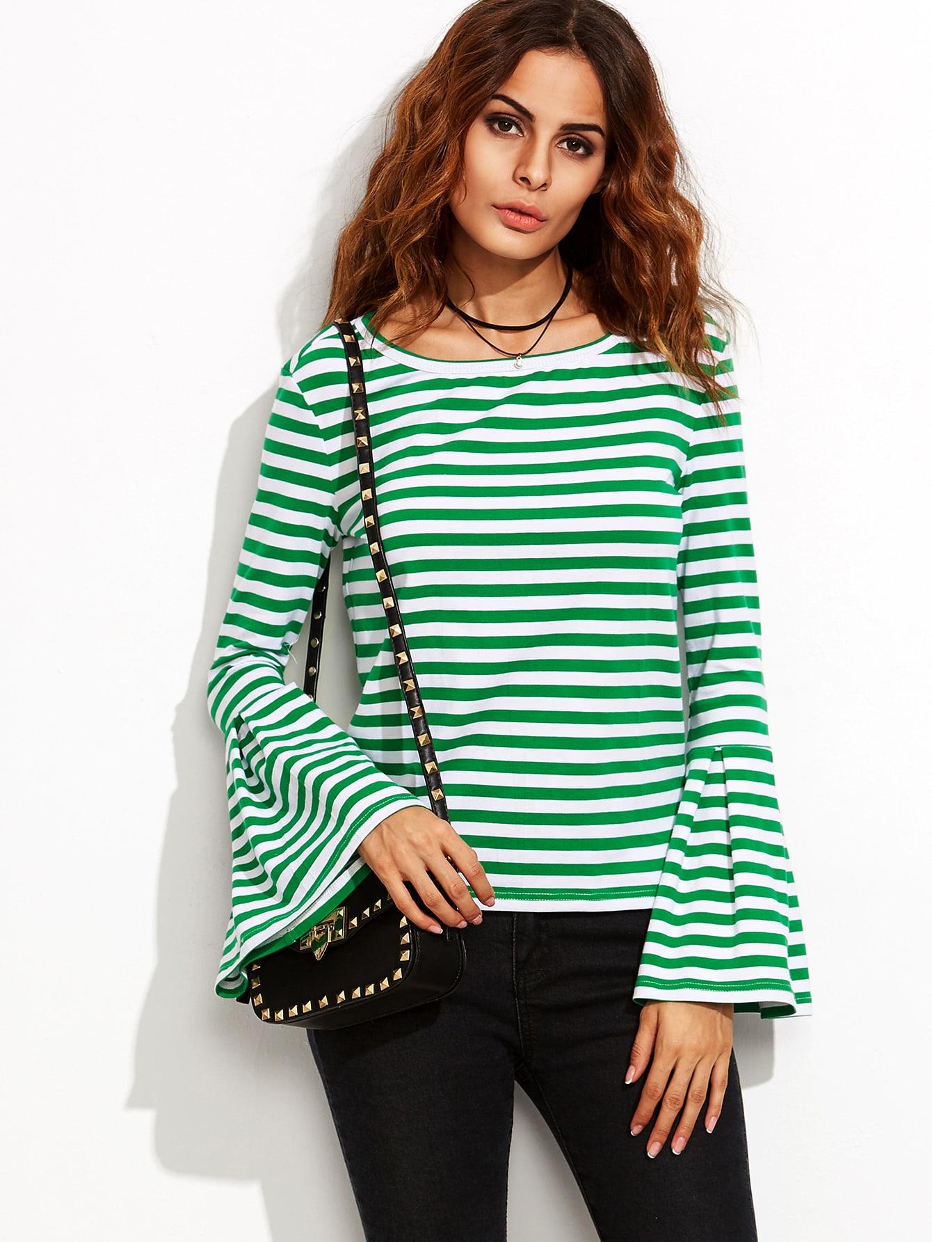 Green Striped Bell Sleeve T Shirt Shein Sheinside