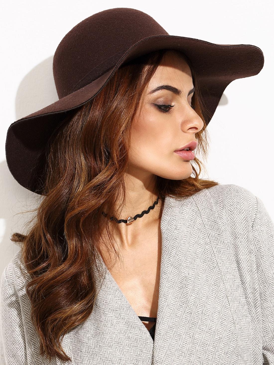 6f7020003522d Coffee Vintage Large Brimmed Hat