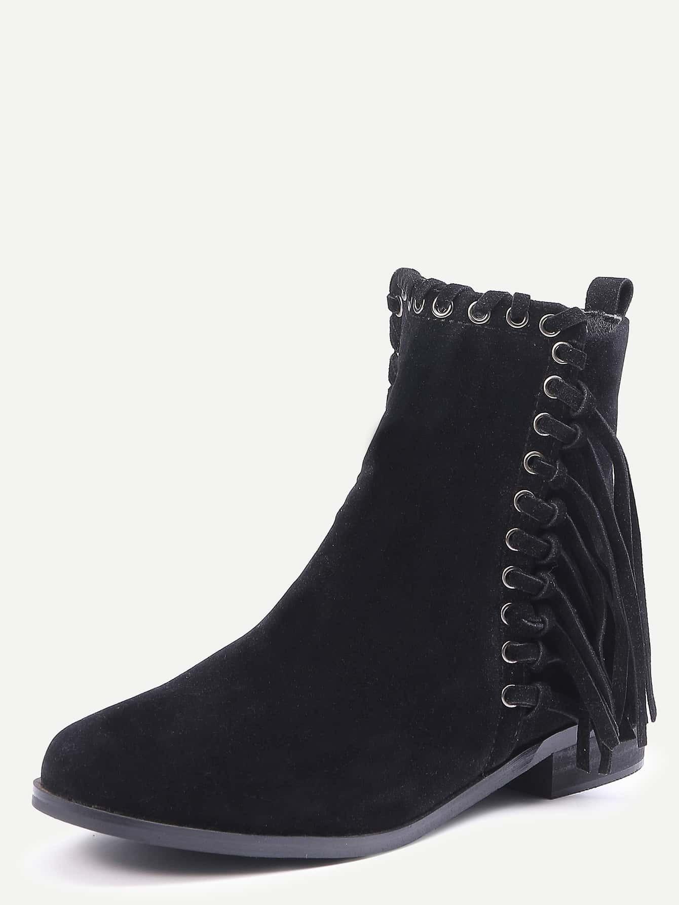 black faux suede whipstitch fringe boots shein sheinside