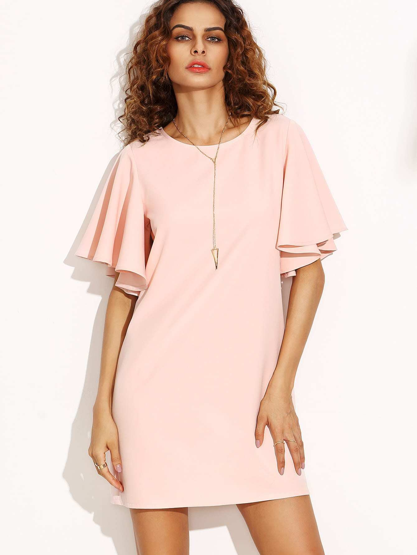 Pink Tied V Back Ruffle Sleeve Dress Shein Sheinside