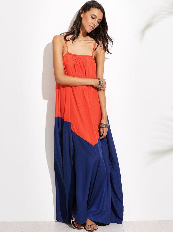 8cb0642991 Color Block Spaghetti Strap Maxi Dress | SHEIN IN