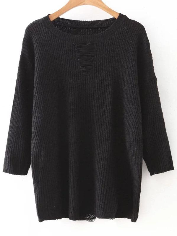 d18553f9e4 Black Drop Shoulder Ripped Knitwear | SHEIN