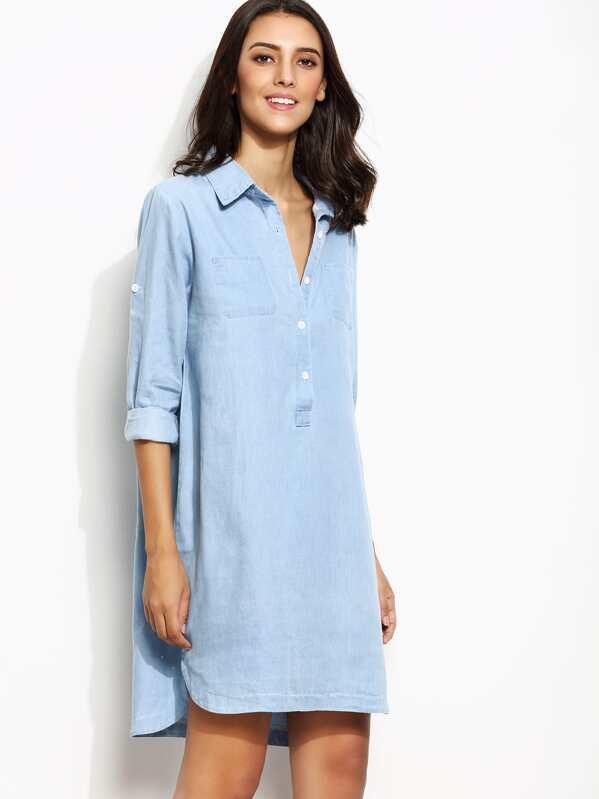 6763c04178 Blue Roll Tab Sleeve High Low Denim Shirt Dress