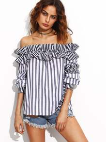 Vertical Striped Bardot Top With Frill Detail