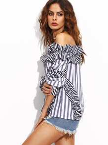 28c667335ba051 Vertical Striped Bardot Top With Frill Detail | SHEIN IN