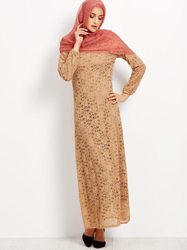 f3c64dc2bf74 Muslim Lace Overlay Long Sleeve Islamic Kaftan Abaya Maxi Dress   SHEIN UK
