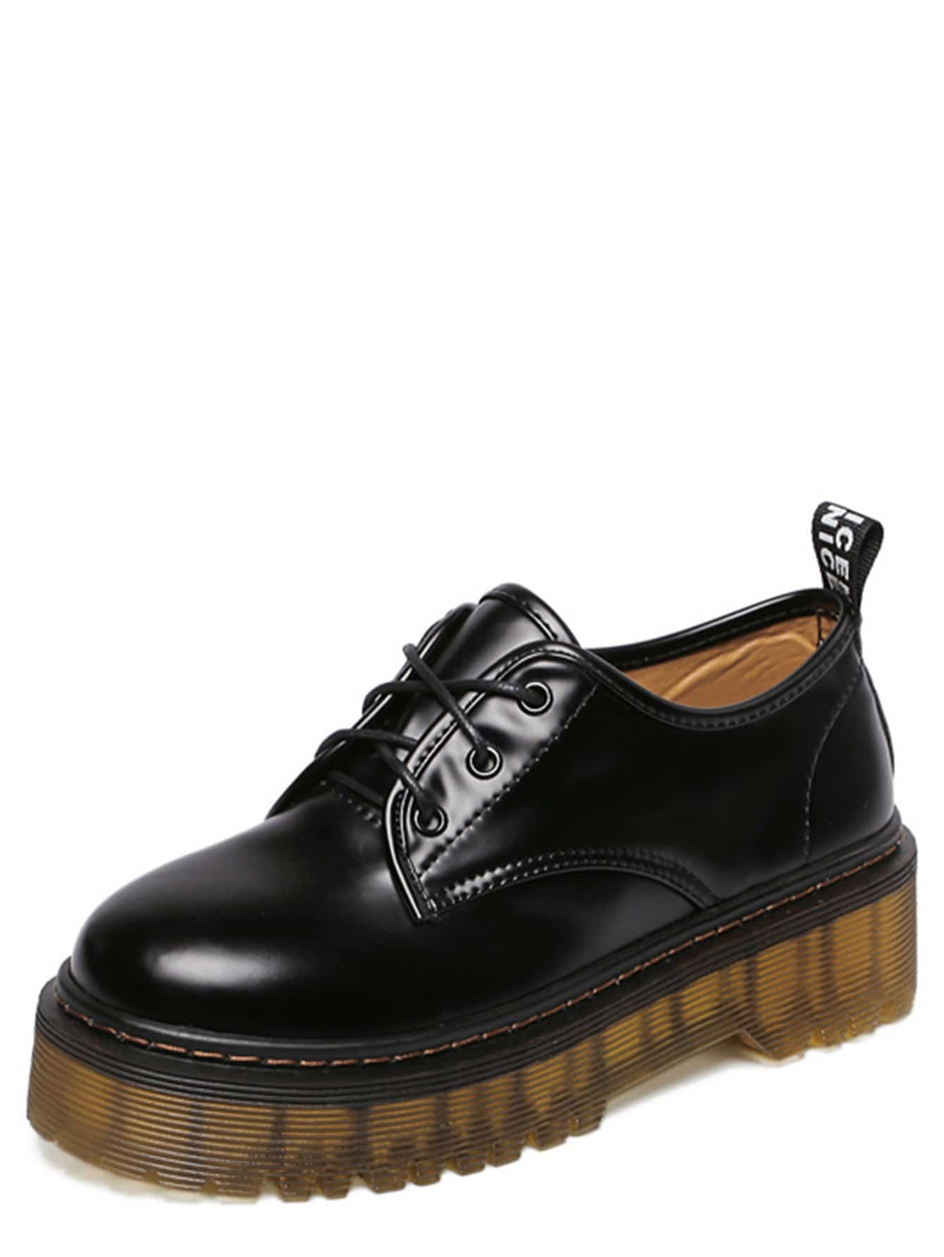 black toe lace up rubber soled shoes shein sheinside
