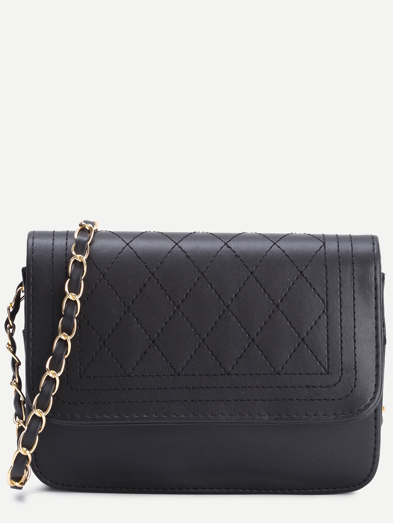 Black Faux Leather Quilted Flap Chain Bag Sheinsheinside