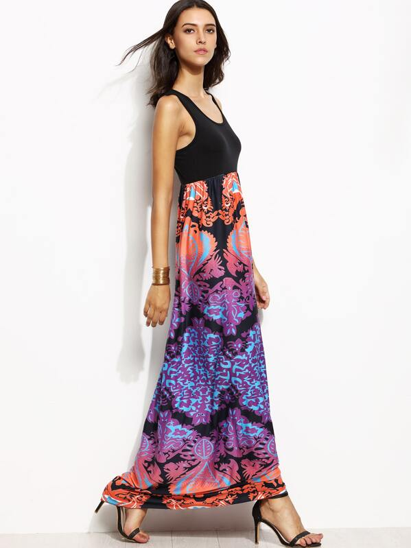 Black Tank Top Contrast Tribal Print Maxi Dress Shein Sheinside