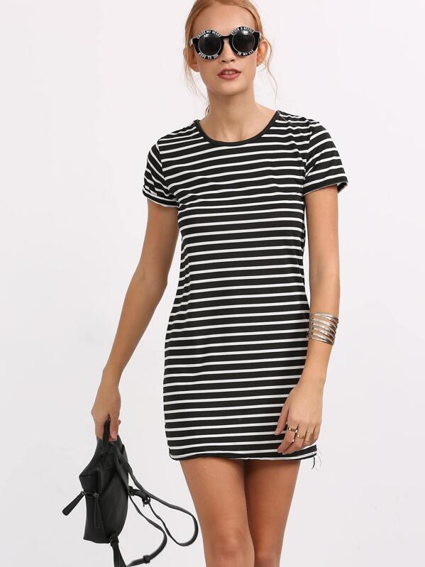 57979e2a204 Black White Striped Shift Dress