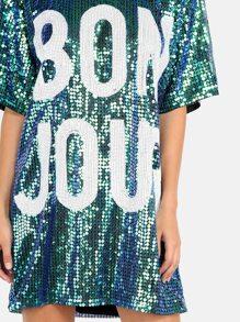 63ccd81a28a Bonjour Sequin Shirt Dress GREEN
