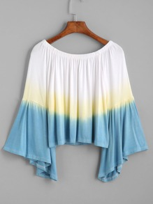 838aed277486d Ombre Boat Neck Bell Sleeve Crop Top