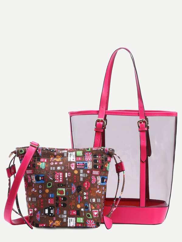 8d75a0f78ce58 Transparente Shopper Tasche mit Segeltuch Umhängetasche - leuchtendes Rosa