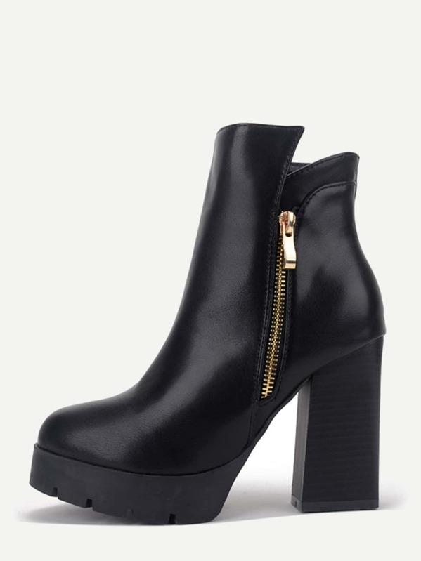 d982a76841 Black PU Side Zipper Short Boots | SHEIN