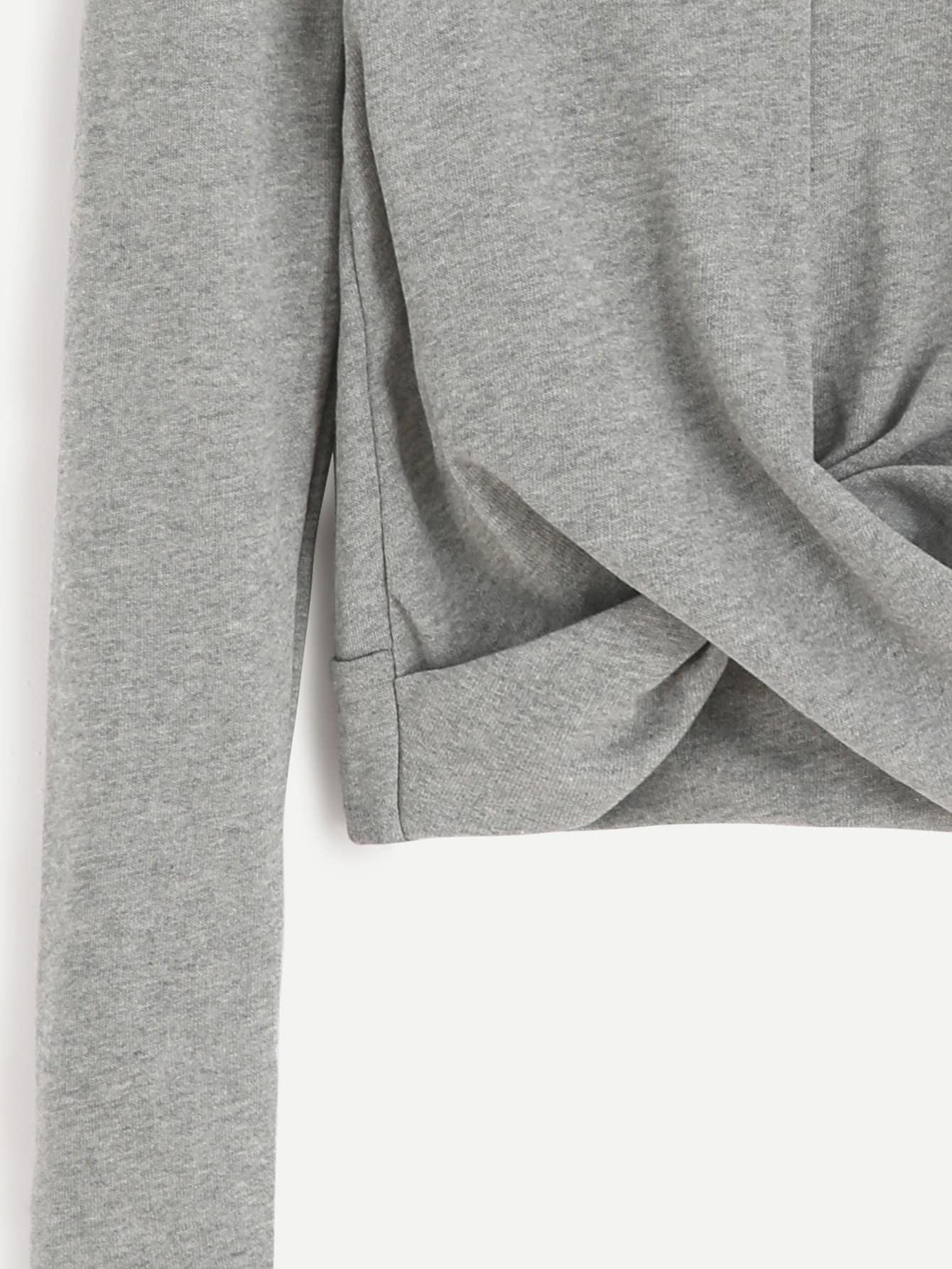 Grey Mock Neck Twist Front Crop T-shirt