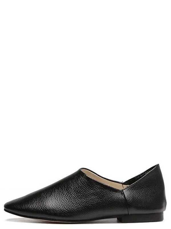 f179144b1af2 Black Square Toe Faux Leather Slip On Flats