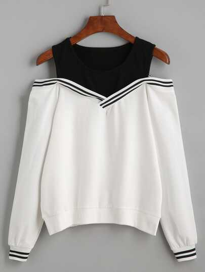 Varsity Striped Contrast Open Shoulder Sweatshirt