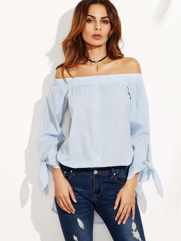 8deac91a148ce9 Blue Vertical Striped Off The Shoulder Tie Sleeve Top | SHEIN