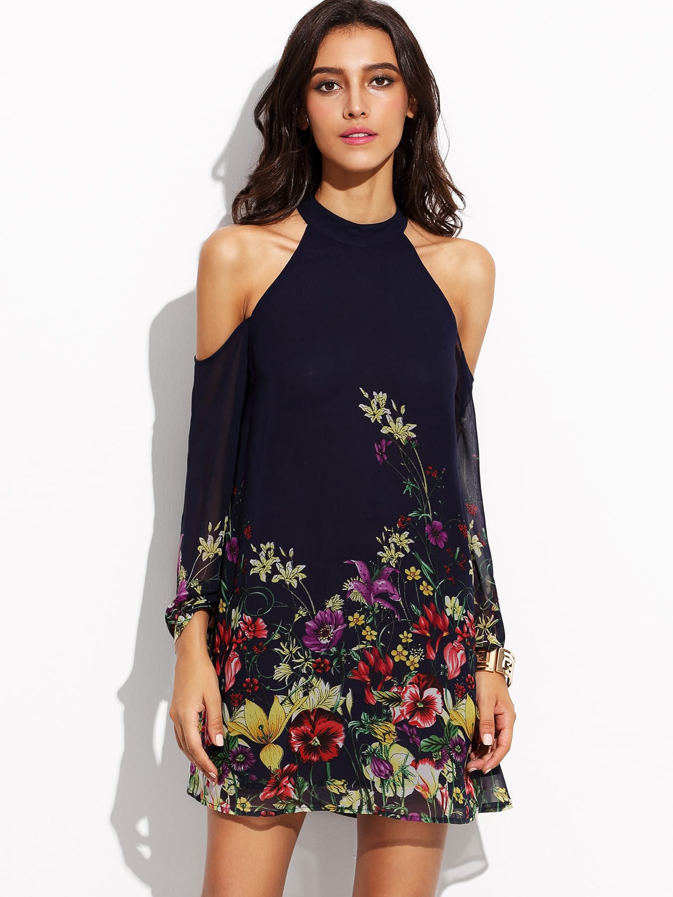 flower print keyhole halter neck cold shoulder dress With shein robe de soirée