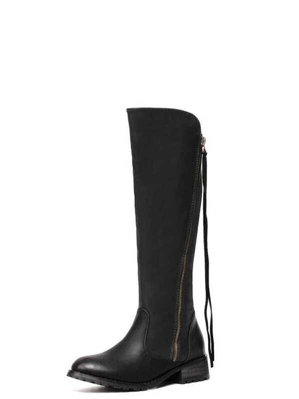 b99652303b Black Faux Leather Side Zipper Knee High Boots   SHEIN