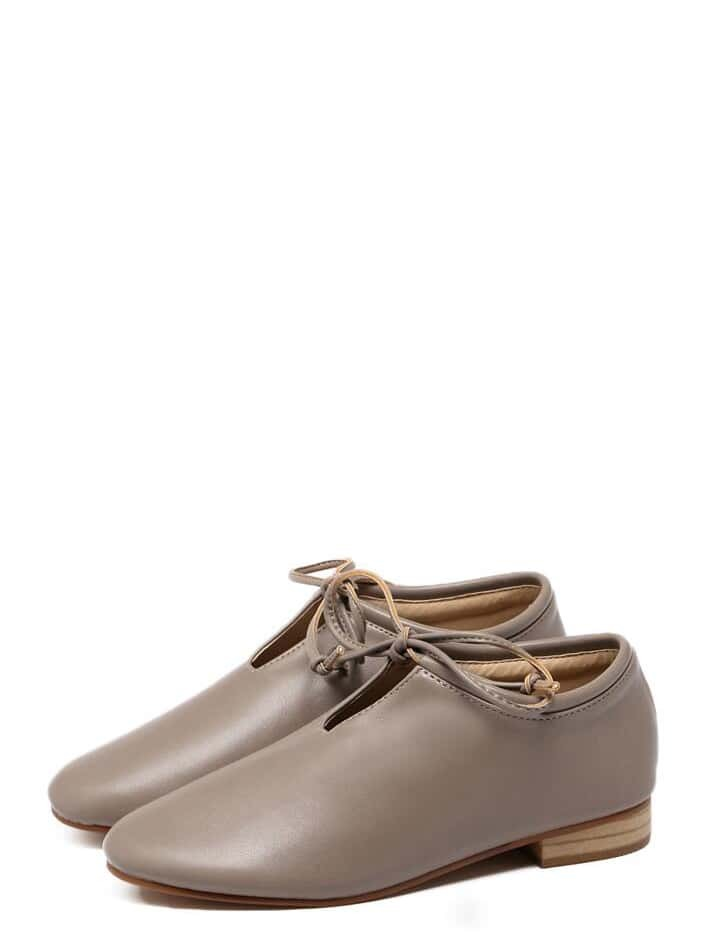 2617828add Camel Faux Leather Top Tied Cork Heeled Shoes | SHEIN