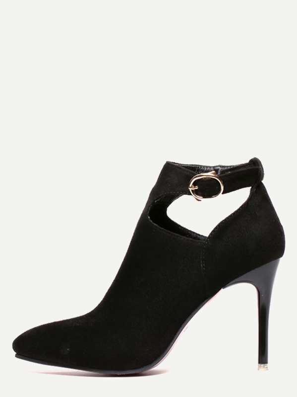 a87390fd3561 Black Faux Suede Pointed Toe Ankle Strap Pumps -SHEIN(SHEINSIDE)