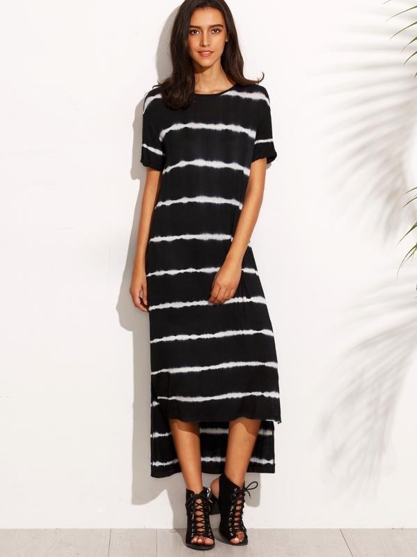 4974155fa1ab T-Shirt Kleid Vorne Kurz Hinten Lang mit Batik - schwarz