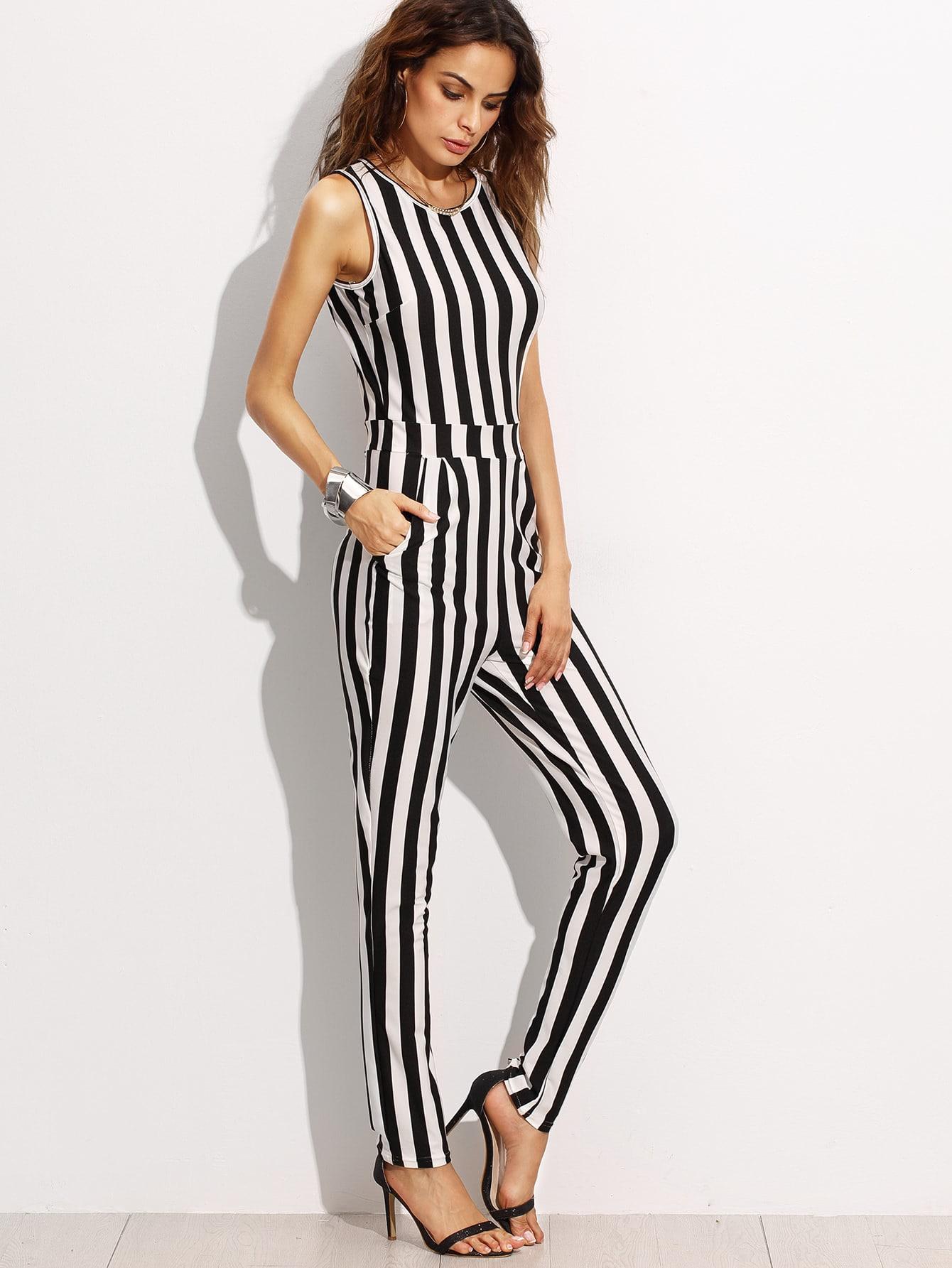 combi pantalons rayures verticales sans manche noir et blanc french shein sheinside. Black Bedroom Furniture Sets. Home Design Ideas