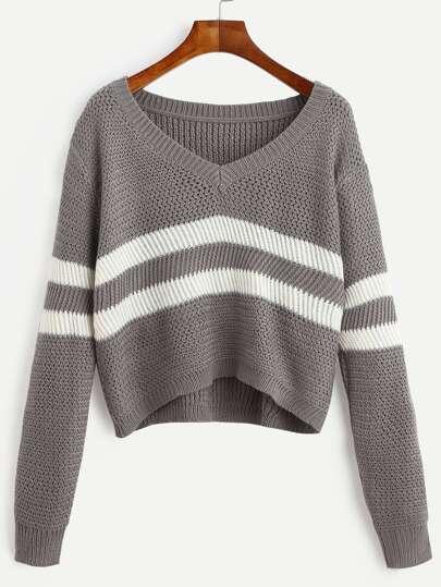 quality design 67ba8 35721 kurzer Pullover V-Ausschnitt mit Streifen - grau
