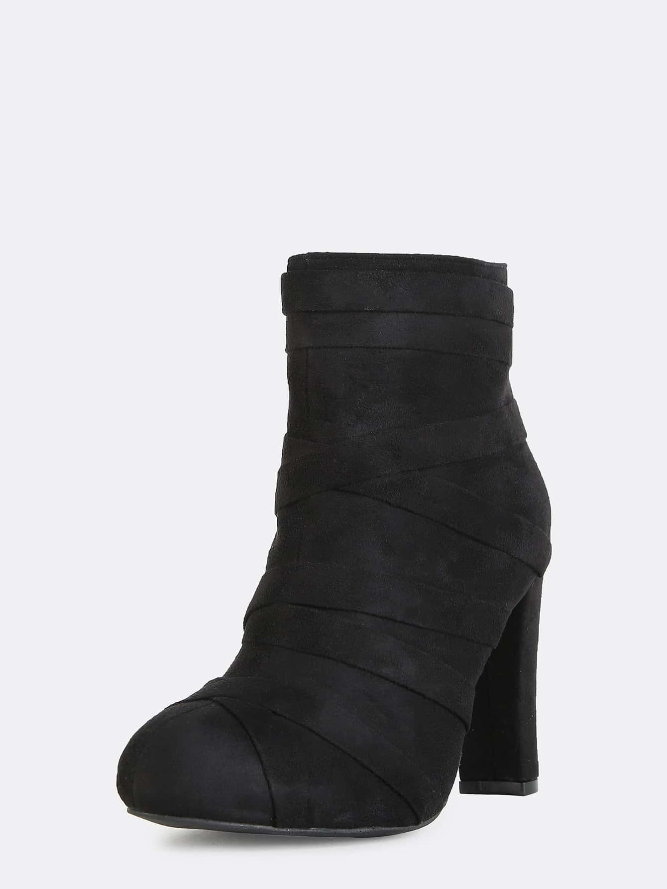 wrap straps chunky heel ankle boots black shein sheinside