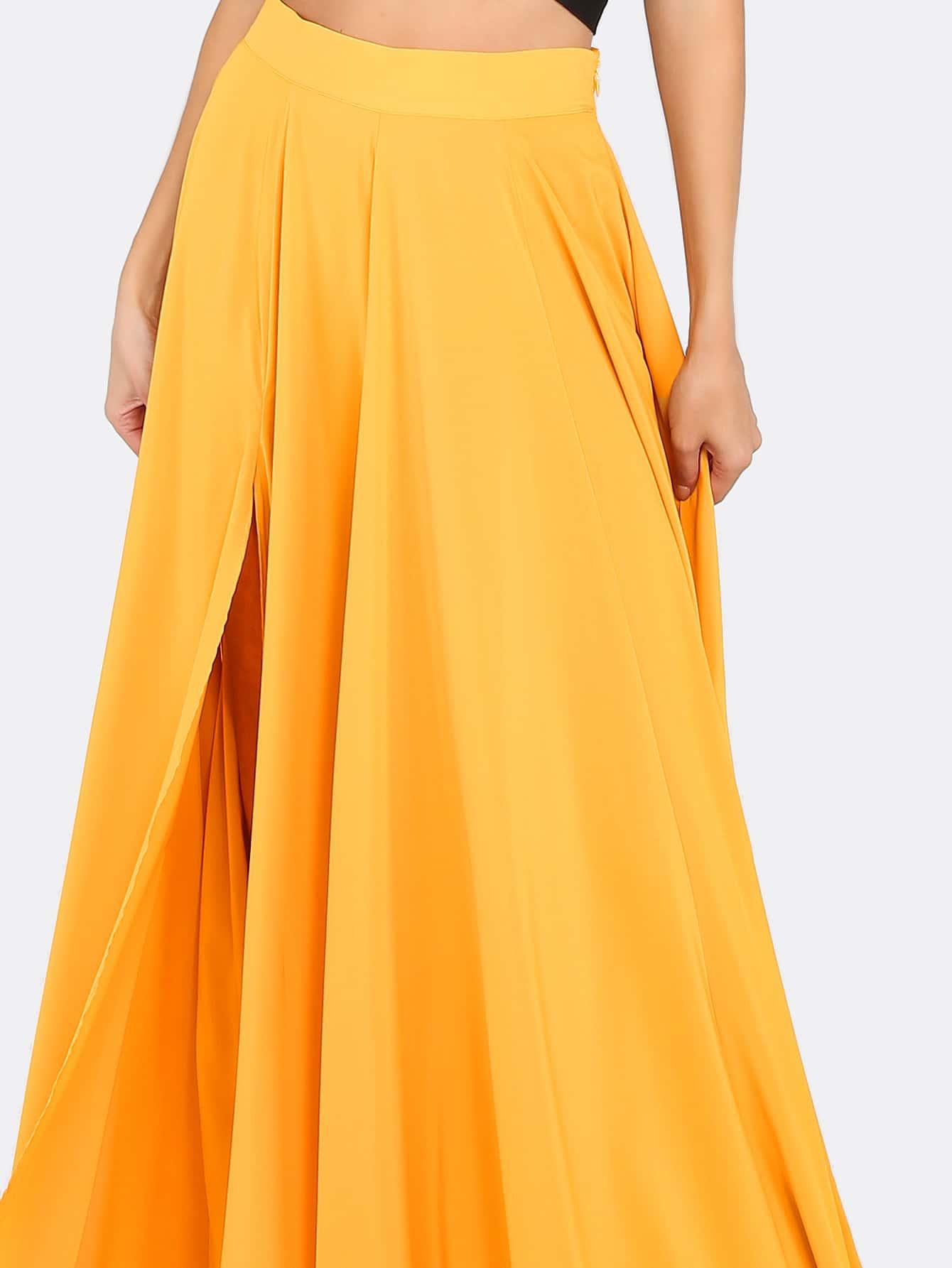 flowing maxi slit skirt mustard shein sheinside