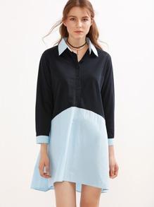Color Block Button Front Shirt Dress
