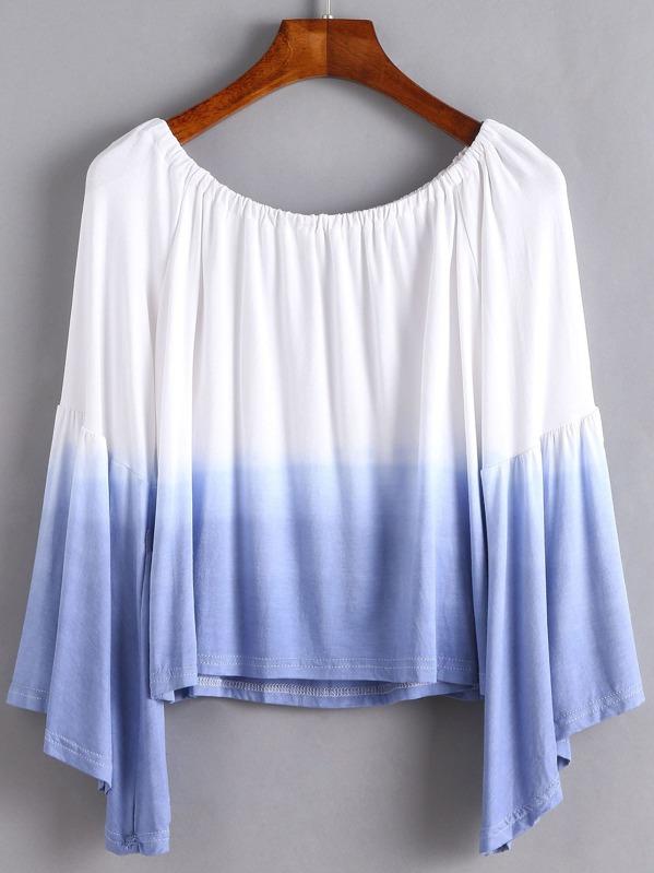 4b9e1b80ea051 Ombre Boat Neck Bell Sleeve T-shirt