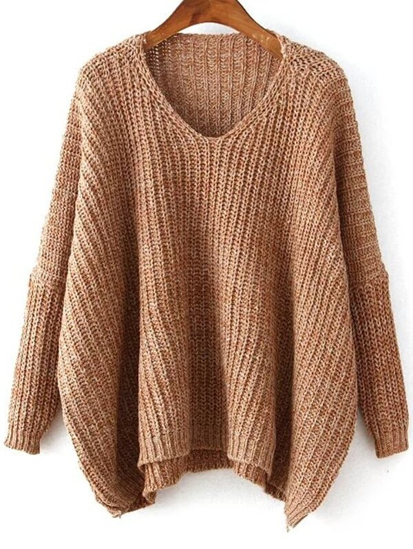 f6970ac8a2 Plunging Batwing Sleeve Dip Hem Oversized Sweater | SHEIN