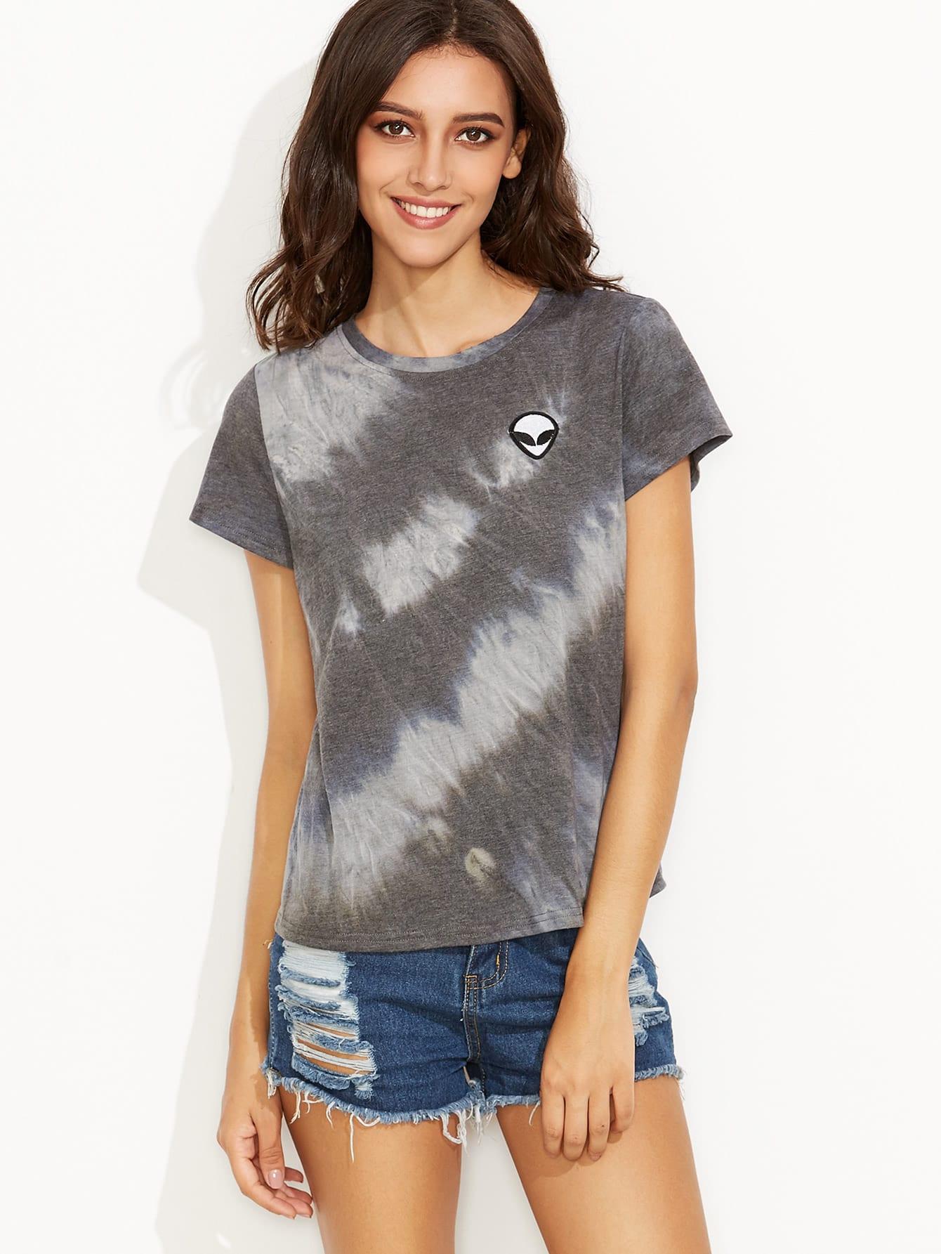 Tie dye print alien patch t shirt shein sheinside for Tie dye printed shirts