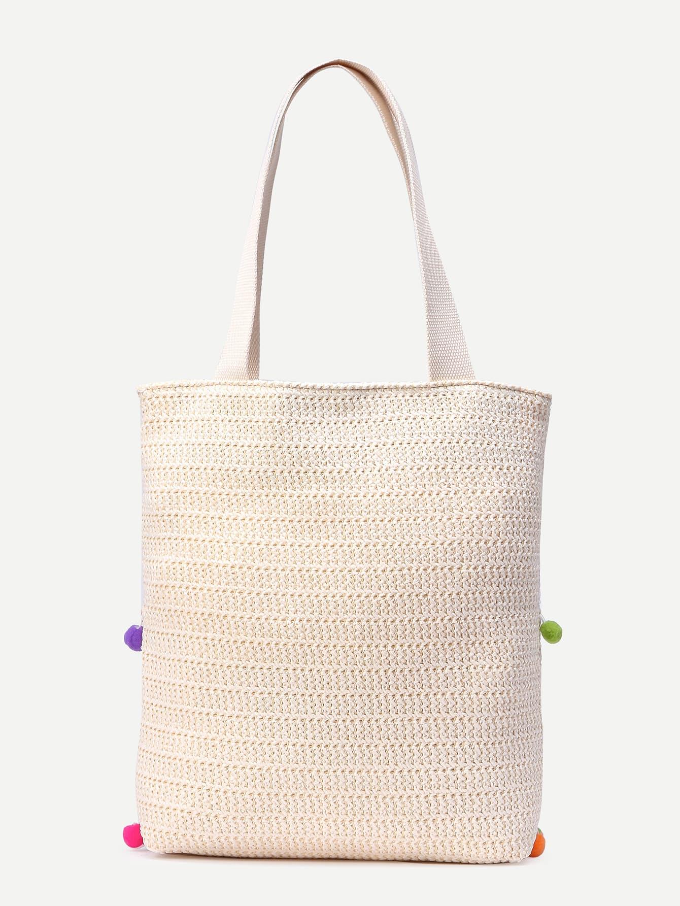 white pom pom detail straw tote bag shein sheinside