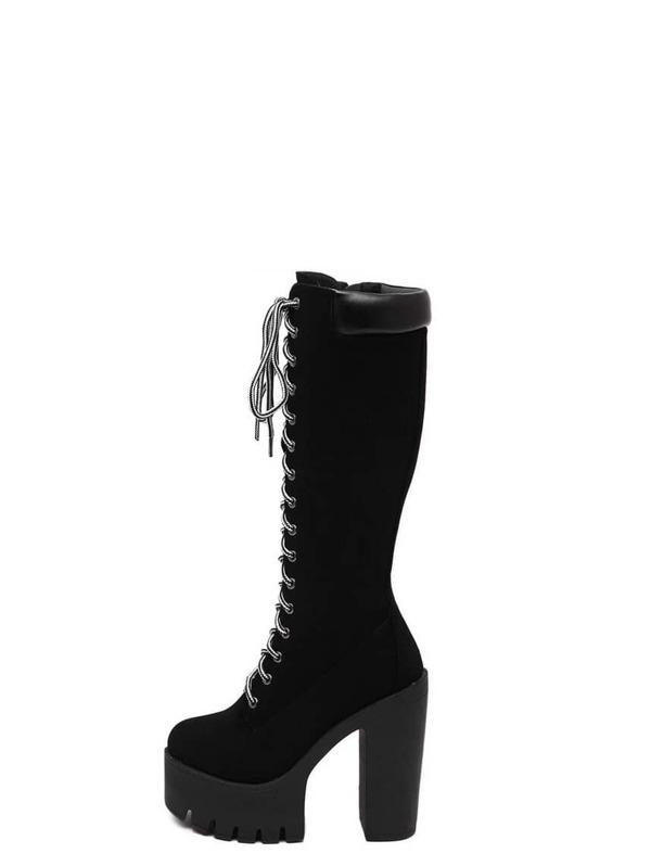 af6f853b81 Black Faux Suede Lace Up Platform Knee High Boots -SheIn(Sheinside)