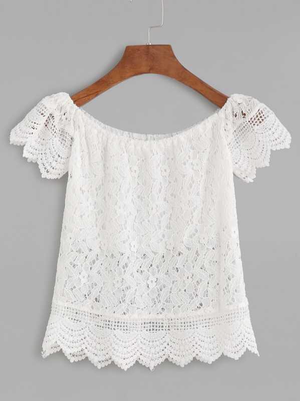 Blusa escote barco crochet encaje festoneado hueca-Spanish SheIn ...