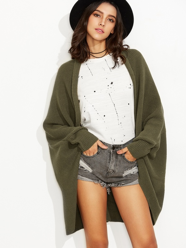 Olive Green Shawl Collar Open Front Cocoon Cardigan, Army green, Camila