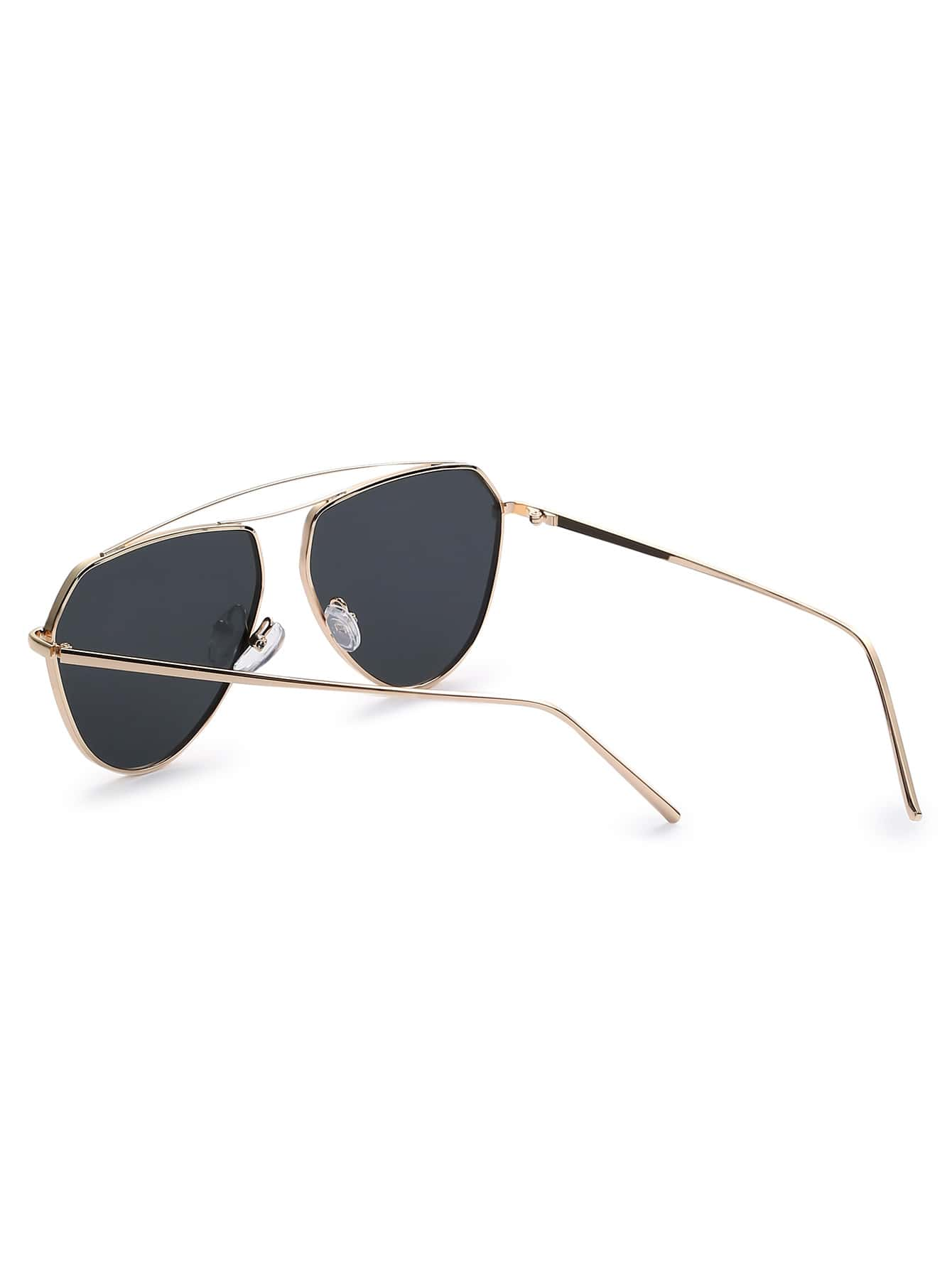 7c6043eb43e2 Gold Frame Black Lenses Aviator Sunglasses