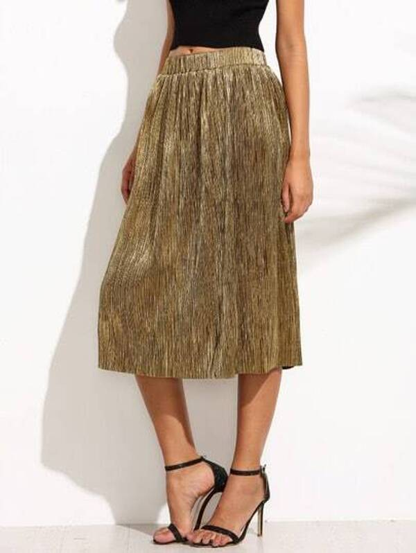 9a756e484f Golden Metallic Pleated Midi Skirt | SHEIN