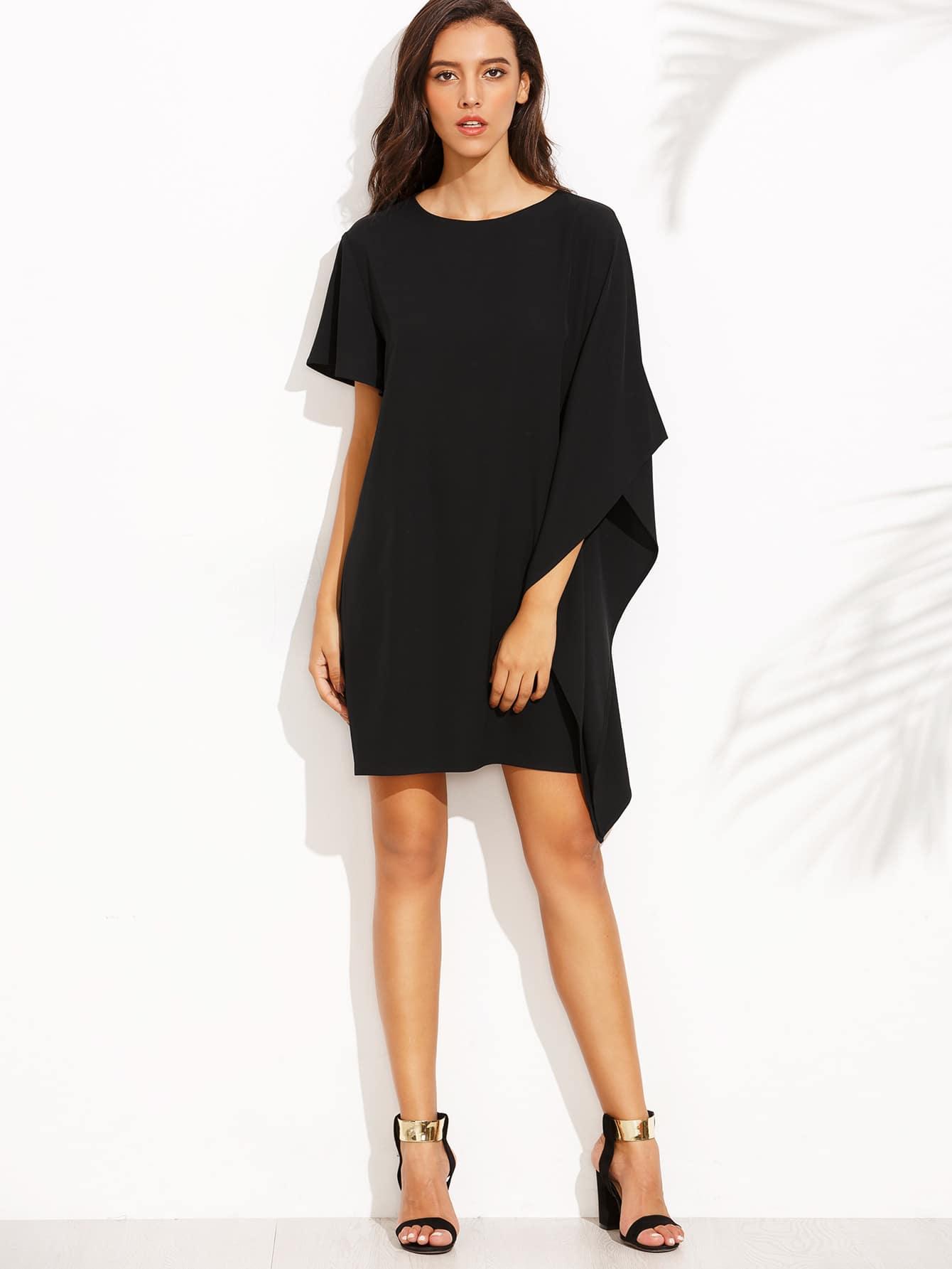 Black Round Neck Split Sleeve Asymmetrical Dress