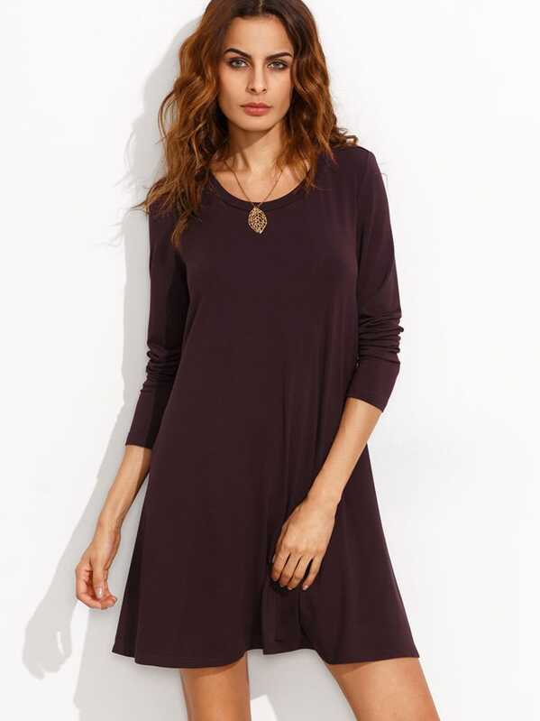 484622a5a4 Burgundy Long Sleeve T-shirt Dress