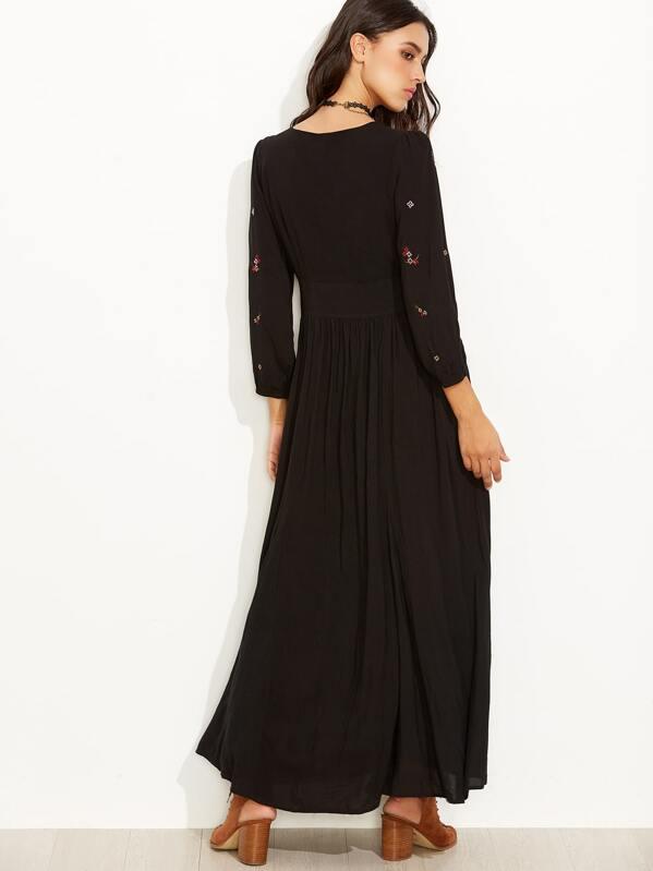 9338da6274d38 Cheap Black Flower Embroidered Long Sleeve Maxi Dress for sale Australia    SHEIN